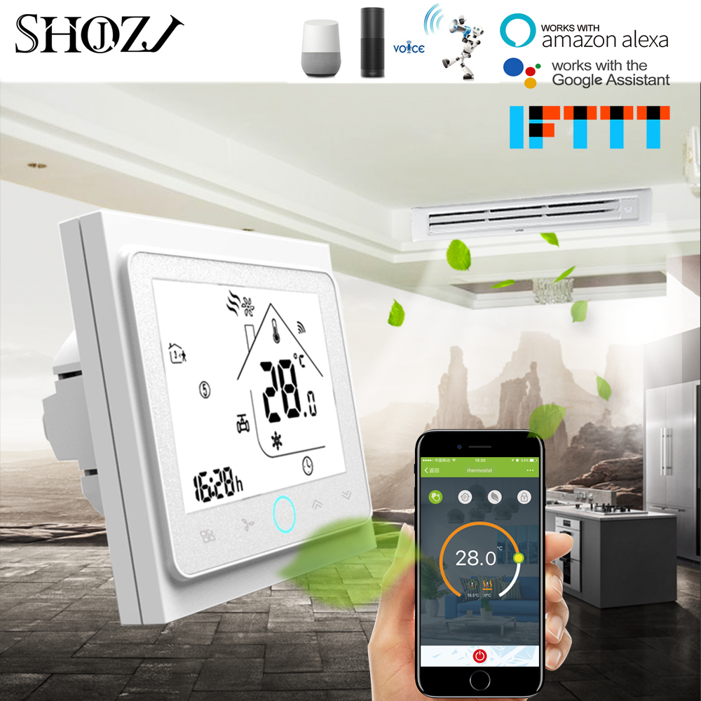 Alexa Google Home TUYA 4 Pipe Programmable WiFi Air Conditioner Thermostat Temperature Controller Fan Coil Unit Smart House