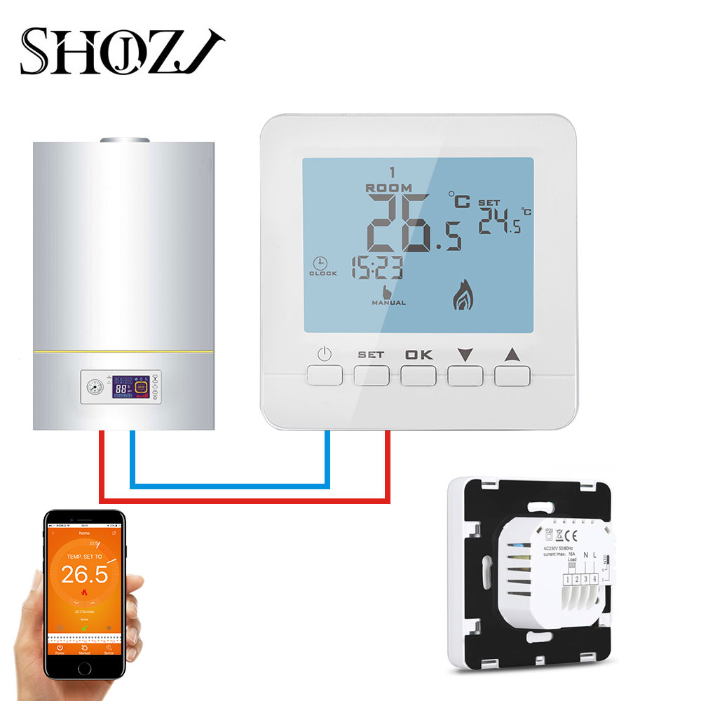 Programmable Thermostat LCD Digital Gas Boiler Temperature Controller Wall-Mounted Temperature Controller with Backlight