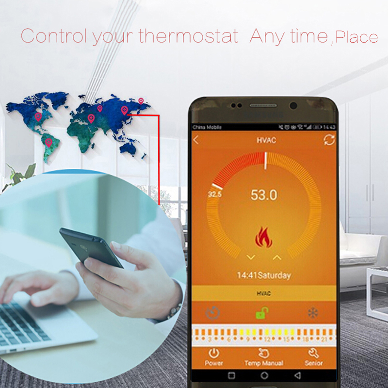 4 Pieces/Pack Black16A WiFi Electric Heating Thermostat Programmable Underfloor Heating Room Temperature Controller 220-240V