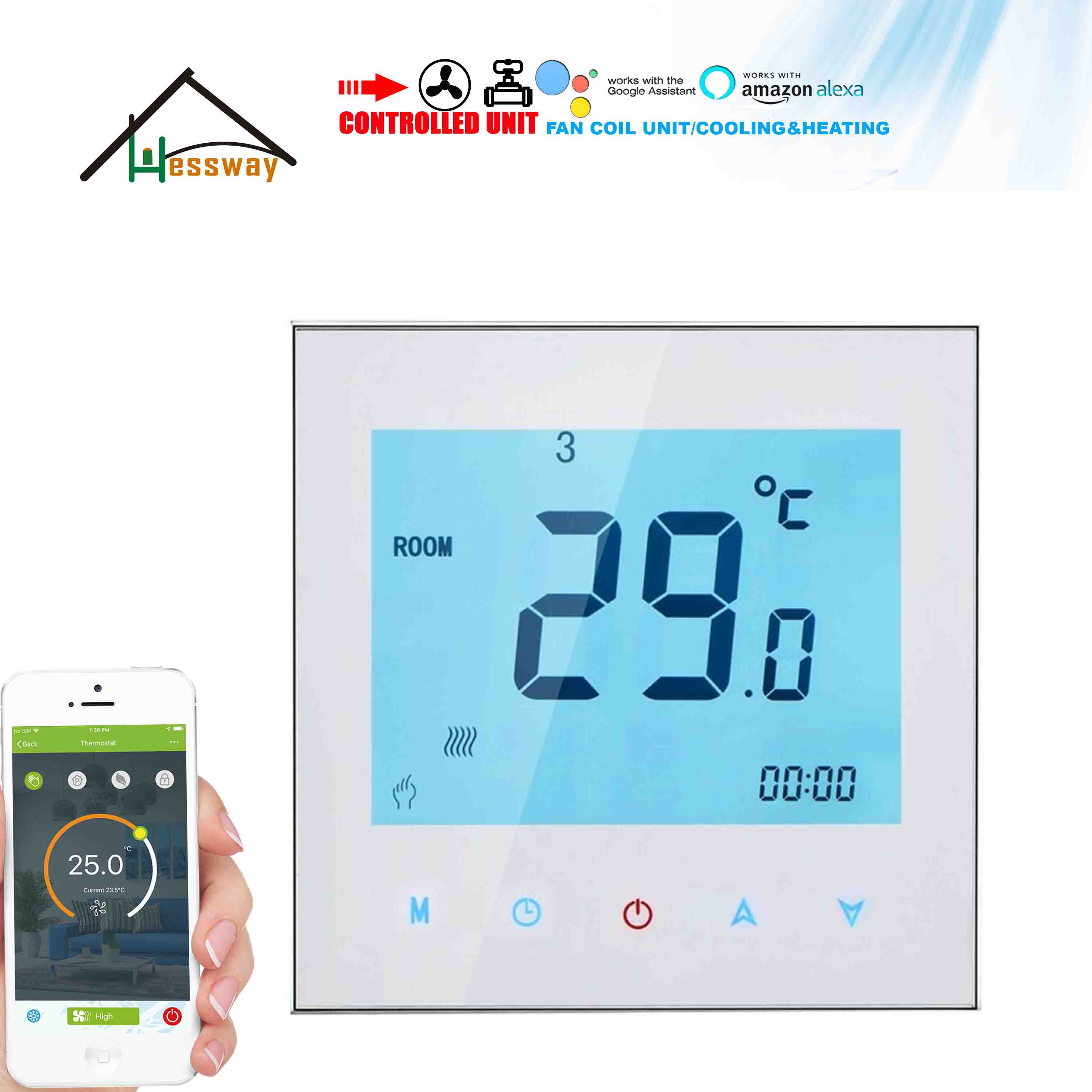 HESSWAY Proportional 0-10V &MODBUS THERMOSTAT WiFi for 2P&4P Cooling&Heating