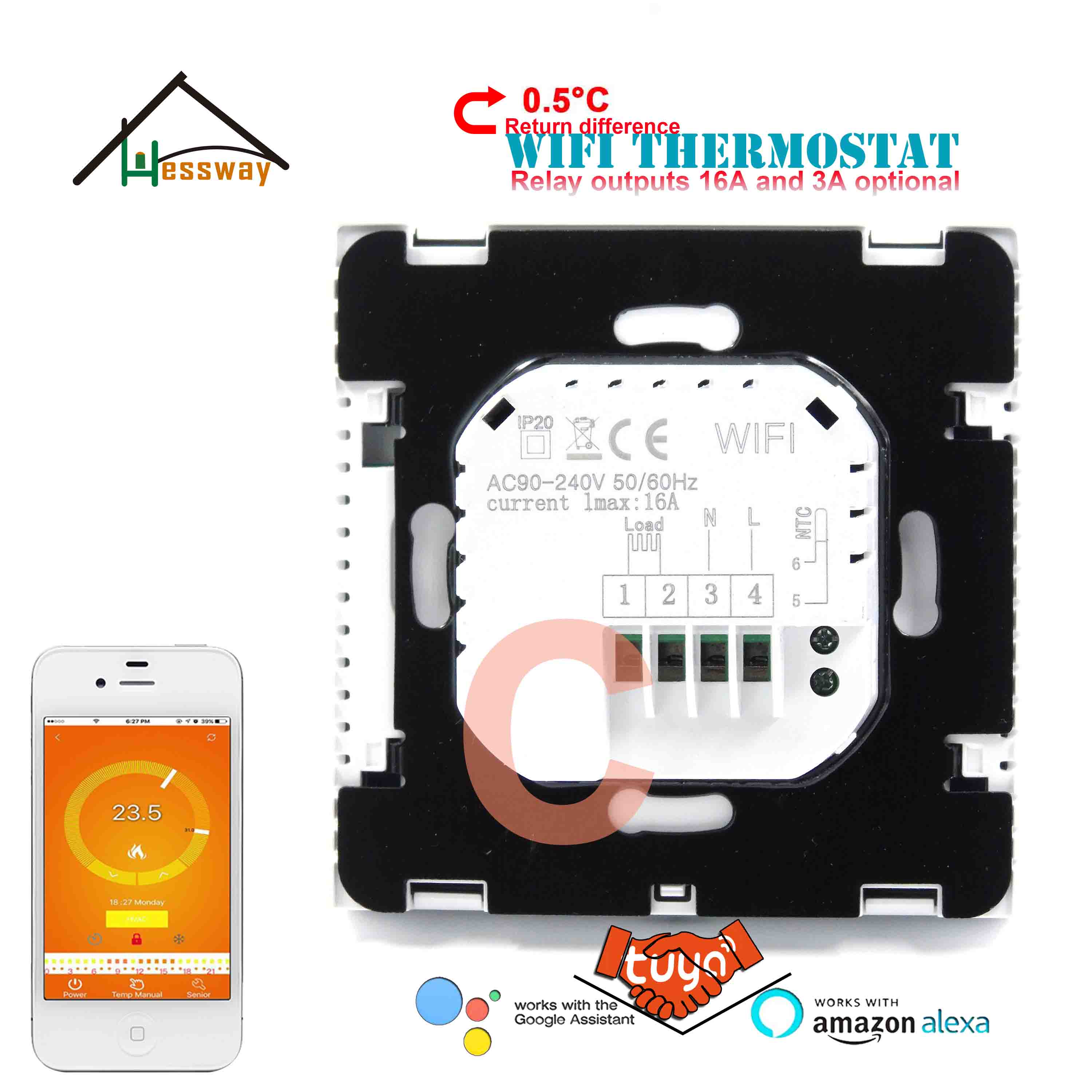 HESSWAY Thermoregulator Touch Screen Heating Thermostat WiFi for Boiler Water Heating 3A 16A