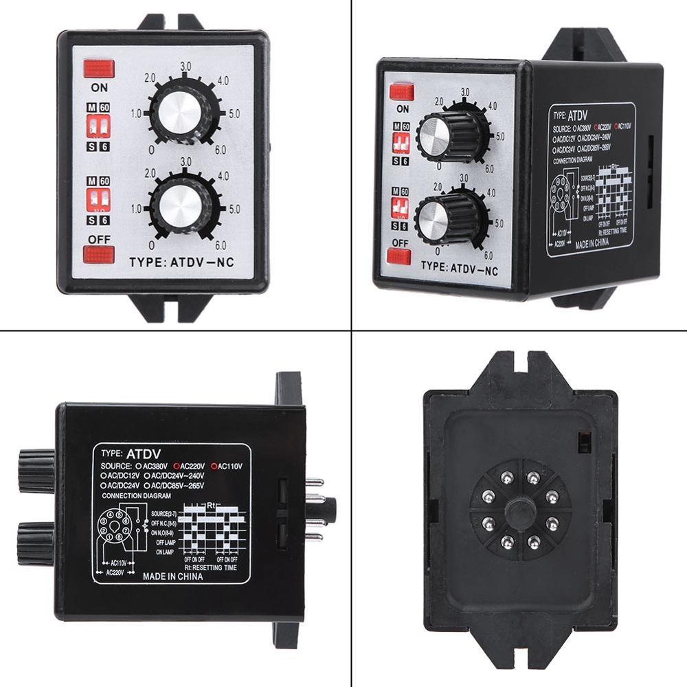 220V 5A on off Twin Timer Relay Knob Control Time Relay Switch 6S-60M ATDV-NC