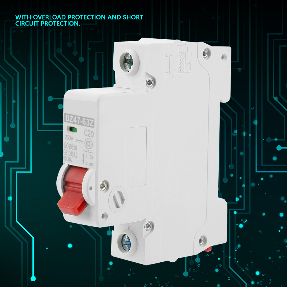 DZ47-63Z-1P 20A DC Miniature Circuit Breaker Leakage Protection Air Switch for Solar Energy Small Power Generation System