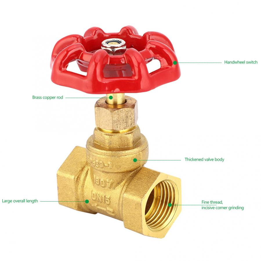 DN15 G1/2in Brass Globe Shut-off Valve Female Thread Two Seals Stop Valve for Water Gas Manual Flush Valve