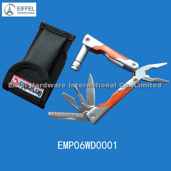 Mini plier with wood handle and LED torch(EMP06WD0001)
