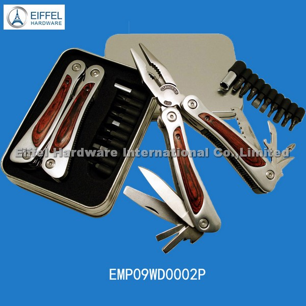 Multifunction tool in tin box with wood handle and 9 bits (EMP09WD0002P)