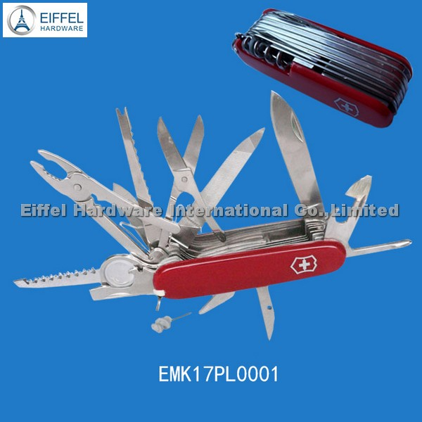 High quality 17 in 1 Swiss knife with ABS handle in red (EMK17PL0001)