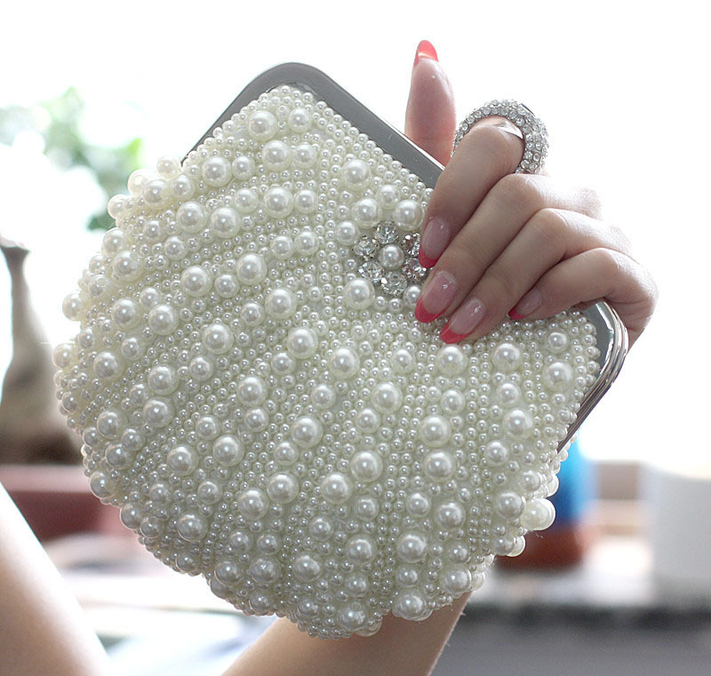 Hot Seller Cheap Price Pearl Ring Style Bridal Clutch Purse Bag