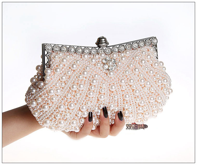 Pearl Beaded Day Clutch Bag Fashionable Great Diamond White Clutch