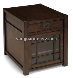 Wooden/Veneer/Glass Door Rectangle End Table