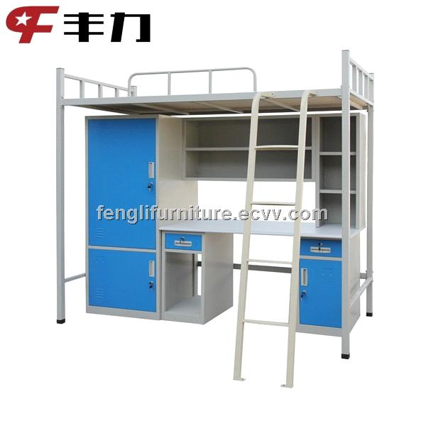 Factory sales metal bunk bed with desk and wardrobe