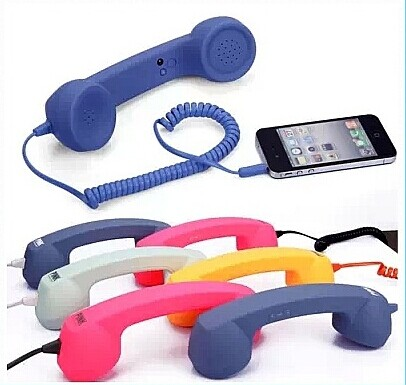3.5mm Retro Anti-radiation Handset for iPhone 4S/4G, with Volume Remote Control, Telephone Receiver