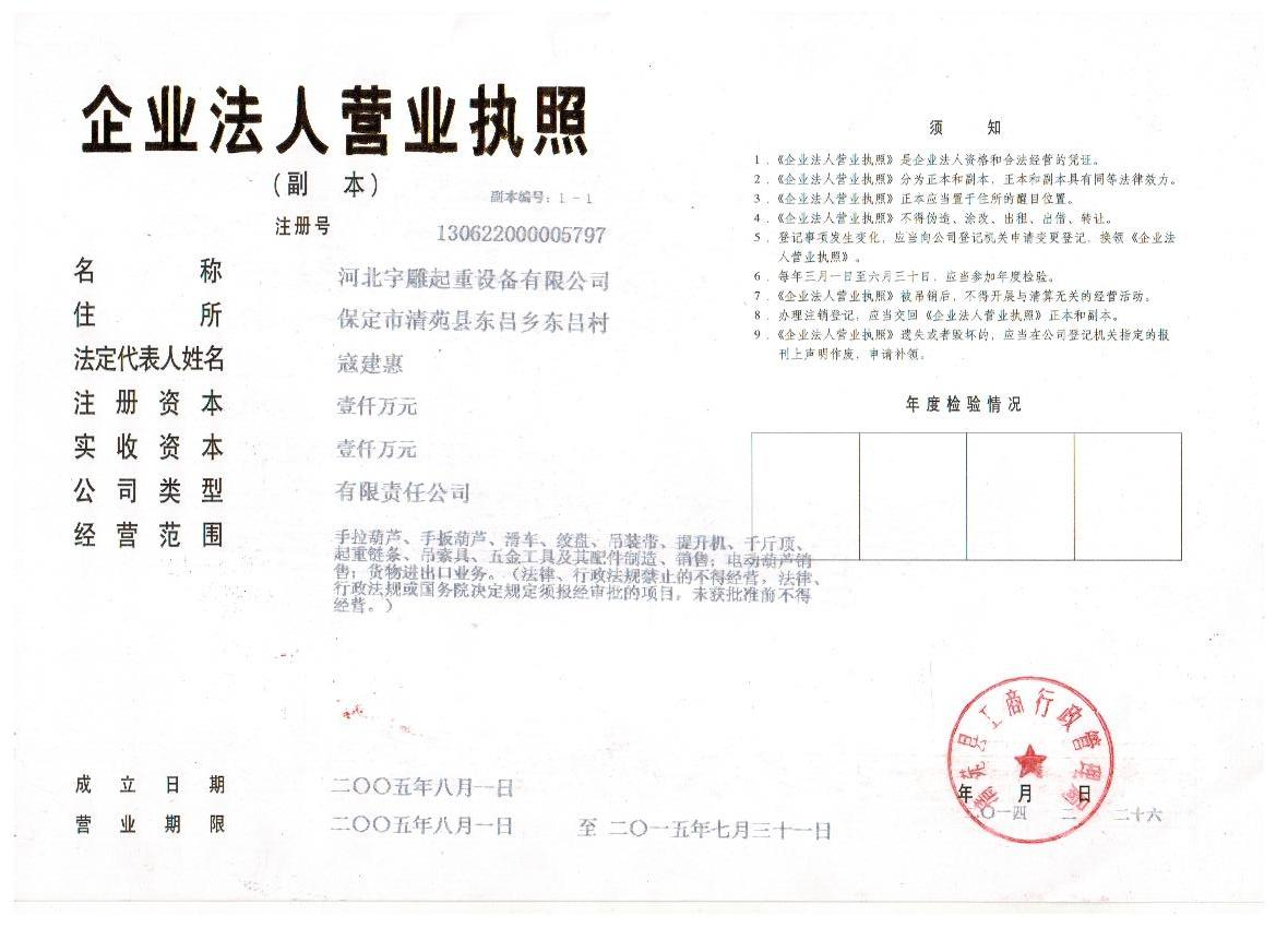 Hebei Yudiao Hoisting Equipment Company