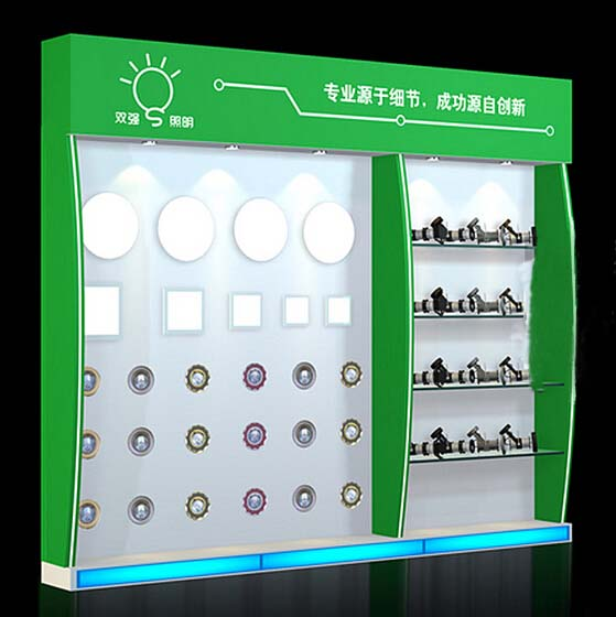 Mdf Showroom Exhibition Shelf Led Lamps Display Board
