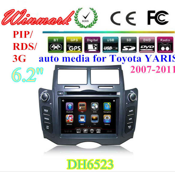 Auto radio navigation car dvd player for Toyota YARIS(2007-2011) DH6523