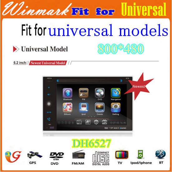 DH6527 2 din 7 inch Universal Car DVD Player / car radio with GPS RDS TV bluetooth