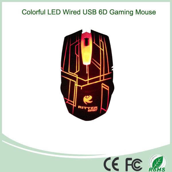 6D Gaming Wired USB Optical Mouse with Colorful LED Lights