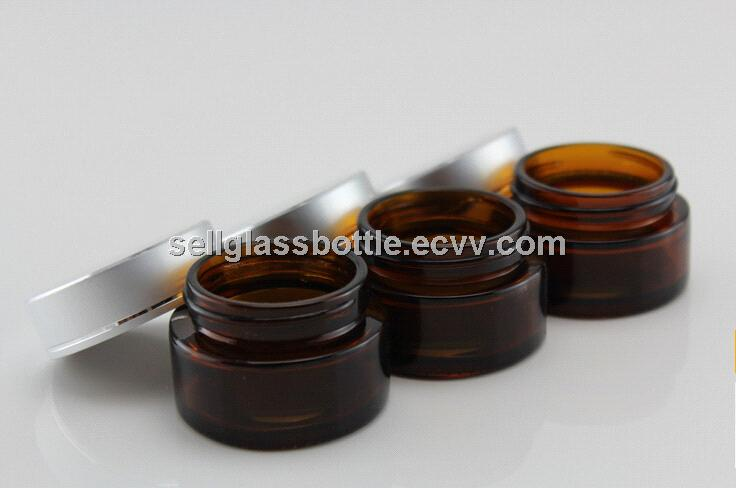 20ml Amber Glass Cosmetic Jar With Lid