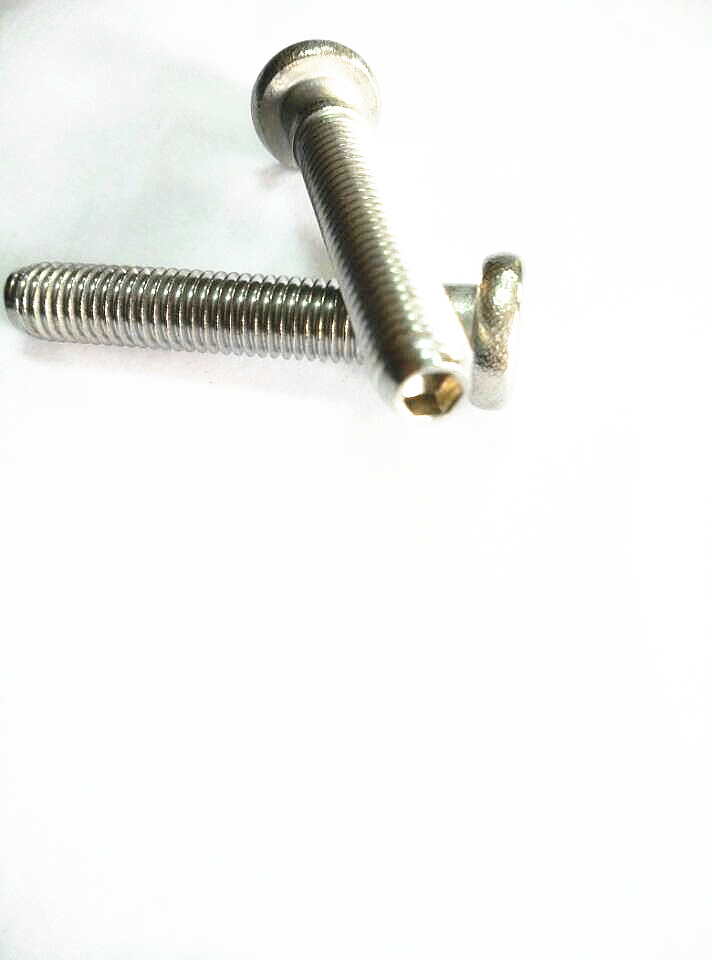 Flat thin head step semi-tubular rivets with external half thread hex waisted shank