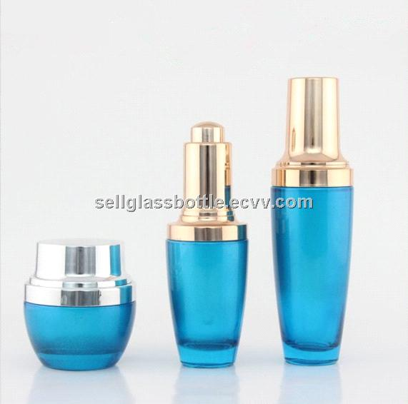 Lancome Blue Lotion Glass Bottle With Glass Cream Jar