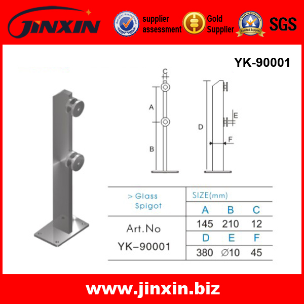 stainless steel square glass spigot YK-90001