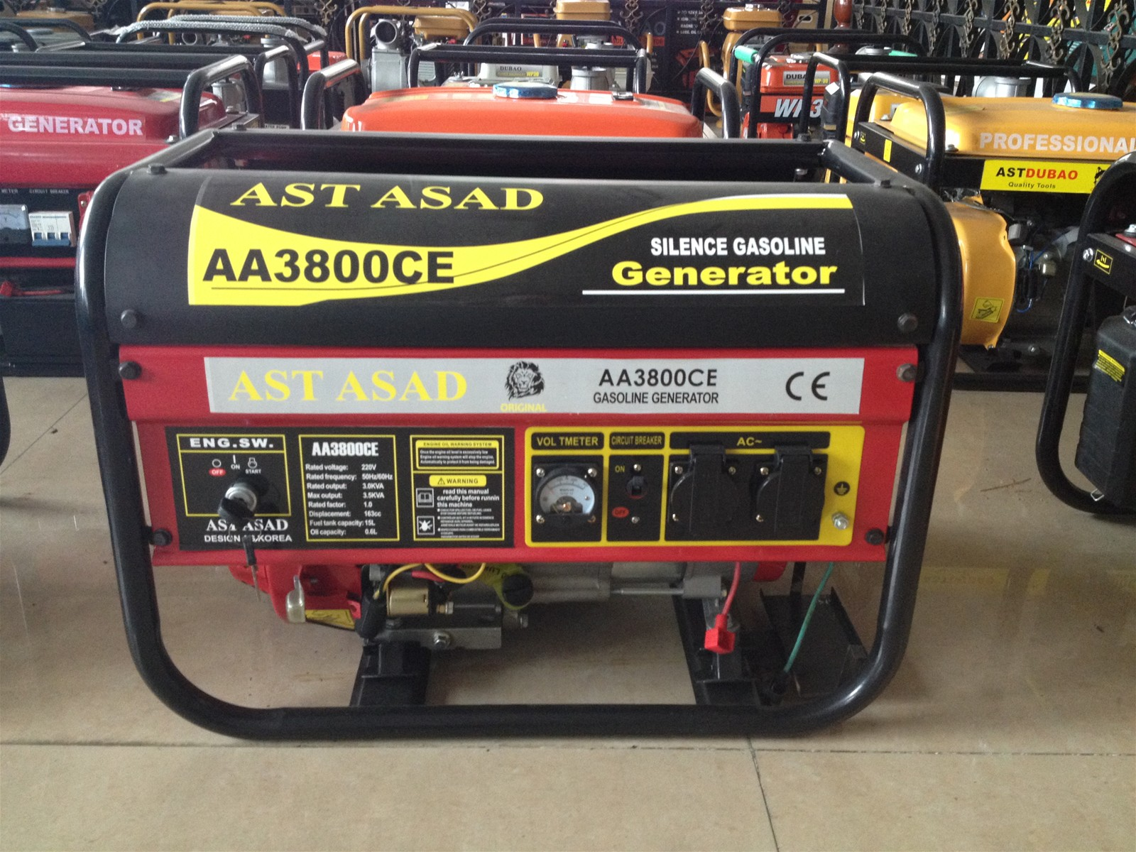 3kw 100%copper wire gasoline generator with key start and battery