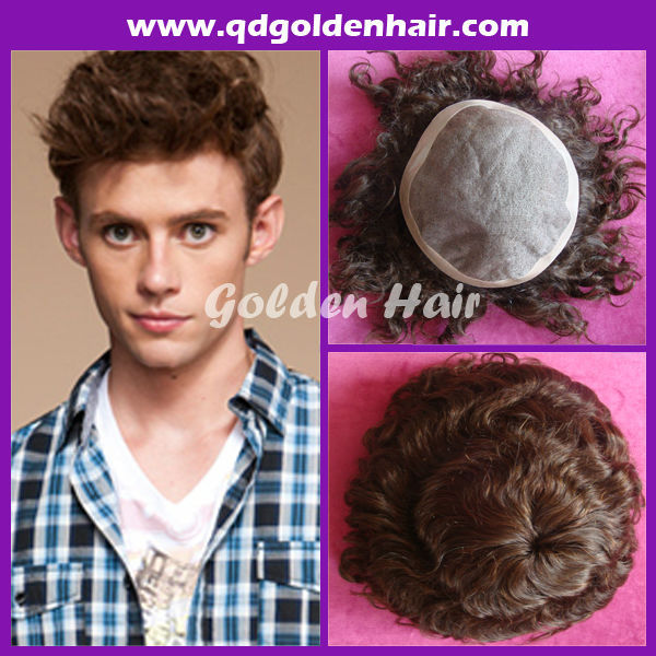 Golden Hair Wholesale Cheap Price Indian Hair Natural Curly Toupees