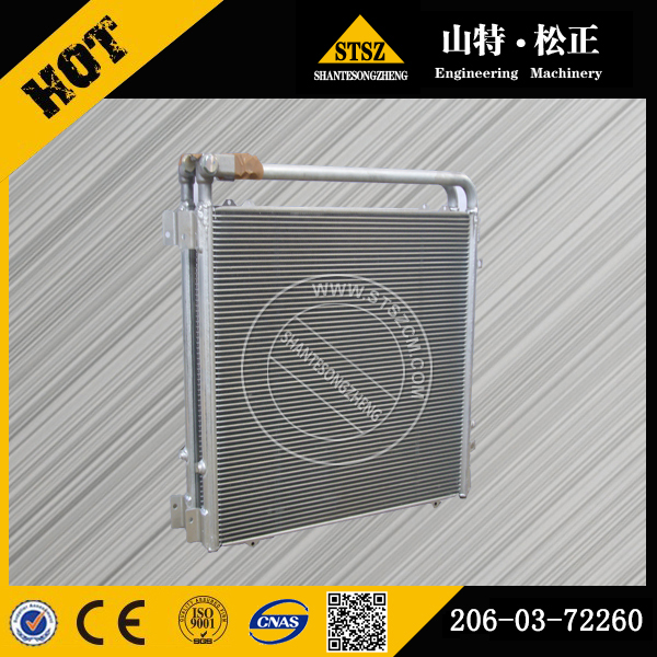 Komatsu genuine excavator spare parts, PC220-7 oil cooler 206-03-72260,  radiator core 206-03-71111