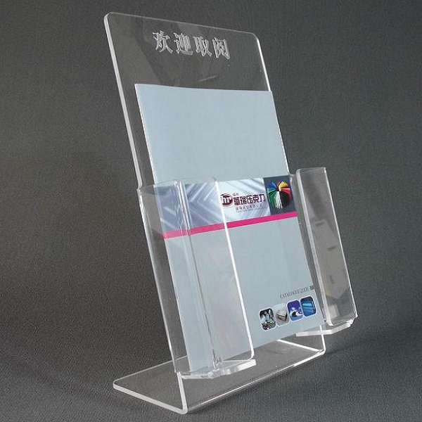 table top clear acrylic brochure display with 4 compartments