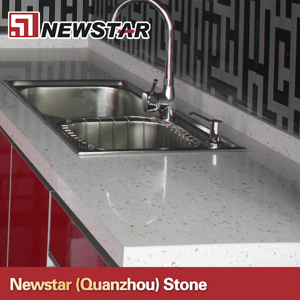 Crystal white artificial quartz work top