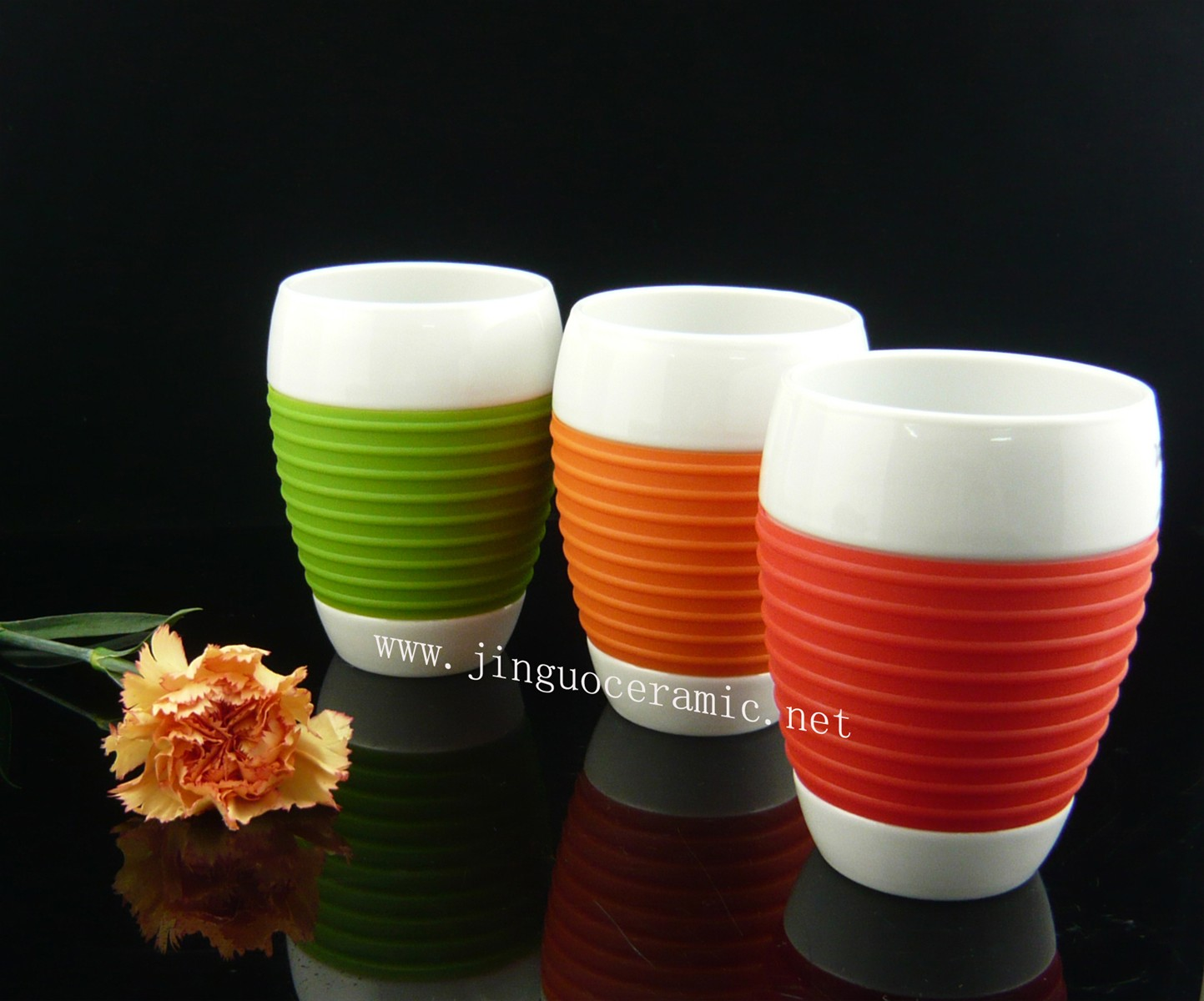 Ceramic Porcelain Coffee Cup with Silicone Sleeve
