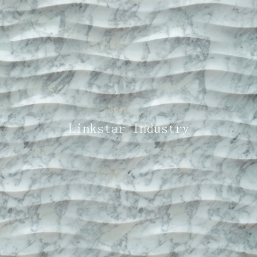 3d natural wavy carrara white marble feature covering tile pattern
