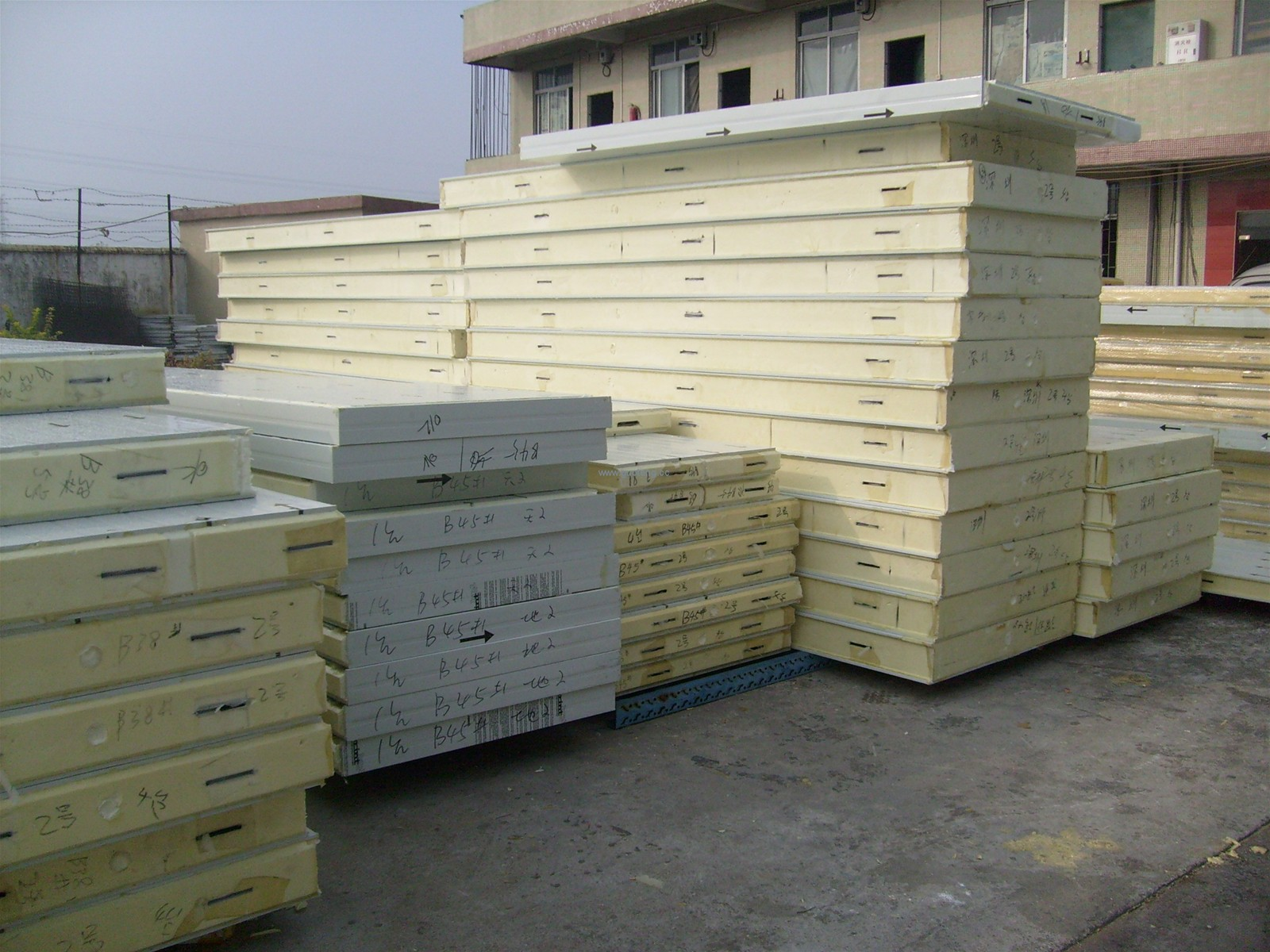 PU cement sandwich panel, Structural PU insulated sandwich panels for cold  rooms