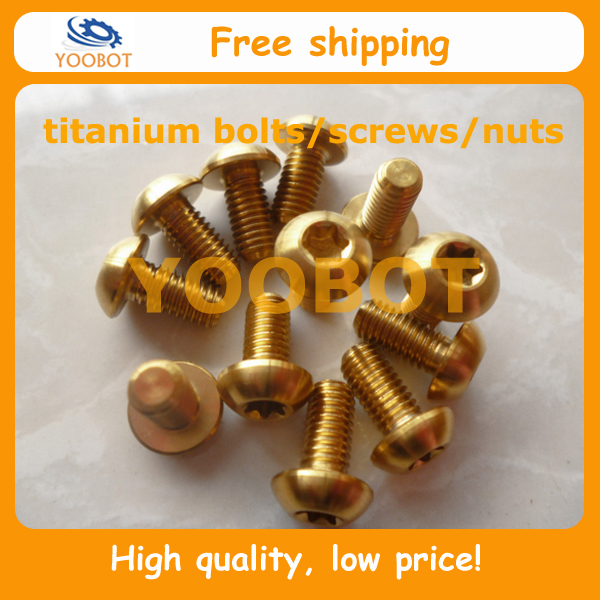ISO 7380-T25 GR5 Titanium Ti Disc Rotor Bolt Screws M5X10mm M5 X10 Torx T25 Golden For Avid Bb5 Bb7