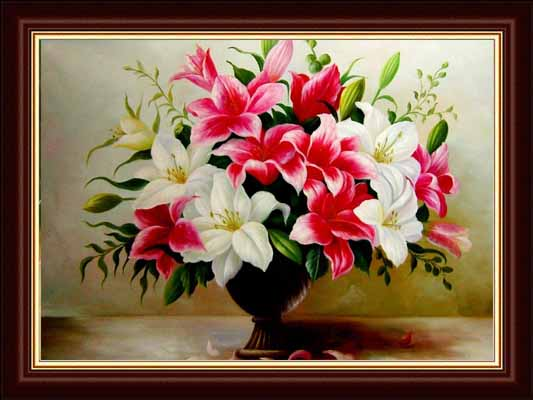 hand painted classical flower on canvas oil painting