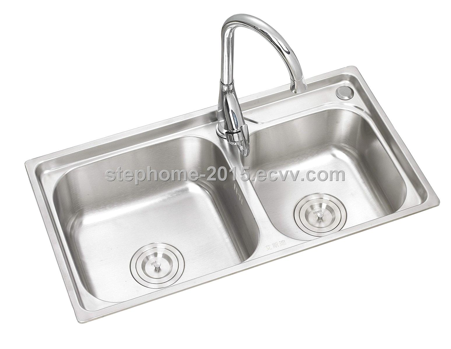 High quality double bowls kitchen stainless steel sink, Imported S/S(Model no.: 6838B)
