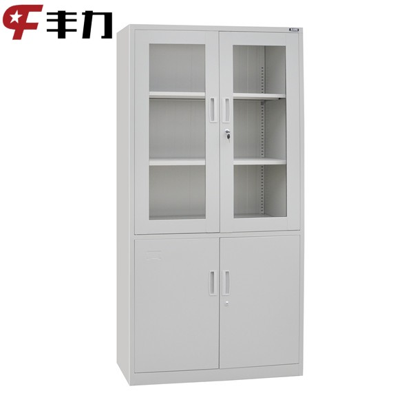 Metal furniture glass door waterproof storage cabinet