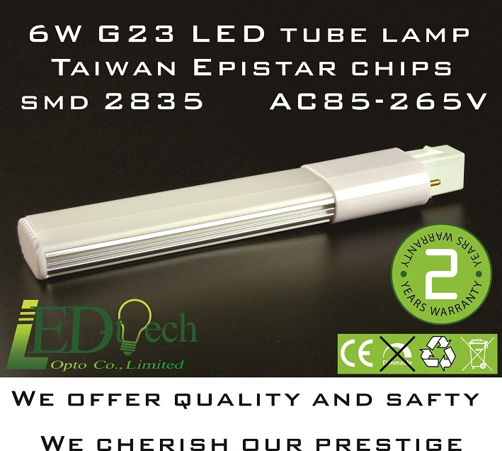 AC85-265V 6W G23 LED tube SMD 2835 G23 LED lamp Taiwan  Epistar G23 PL lamp G23 LED bulb