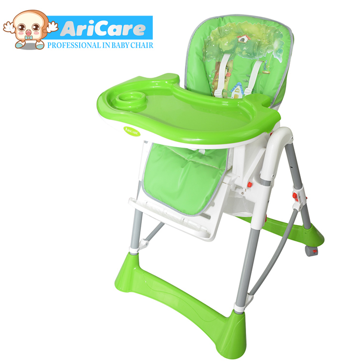new design comfortable safe baby high chair with en1498