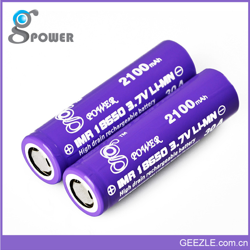Top working current 30A rechargeable 18650 li ion battery 3.7v 2100mAh