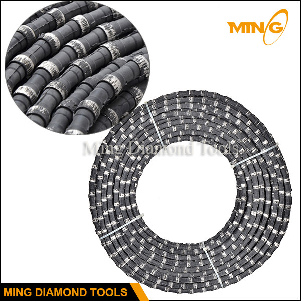 Rubber Coating Diamond Wire Saw For Granite Sandstone Basalt Quarrying Used  On Stationary Wire Saw
