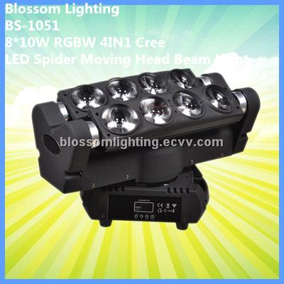 8*10W RGBW 4IN1 Cree LED Spider Moving Head Beam Light (BS-1051)