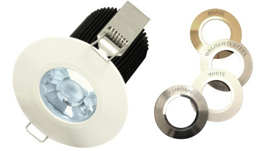 fire rated led downlight,10W,800lm,dimmable with trailing edge dimmers,4 alternative fascias