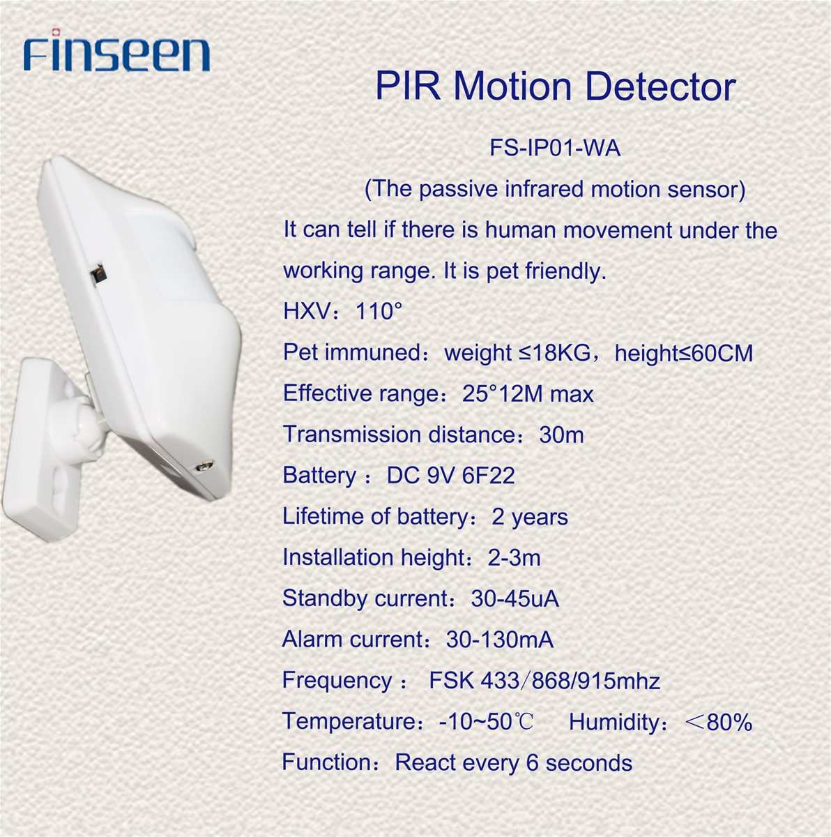 Finseen Pet-Friendly PIR detector 868mhz with backup battery FS-IP01-WA