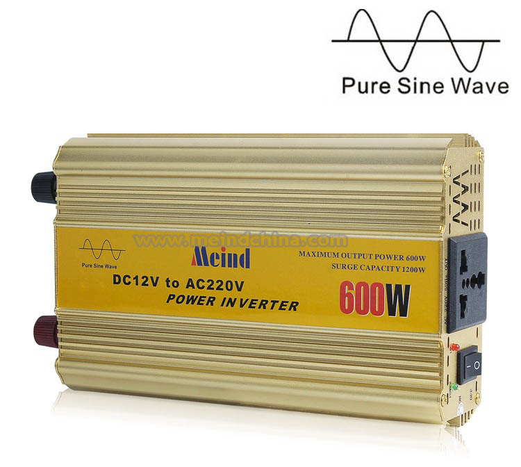 Meind Sufficient 600W Pure Sine Wave DC to AC Power Inverter with Universal Socket