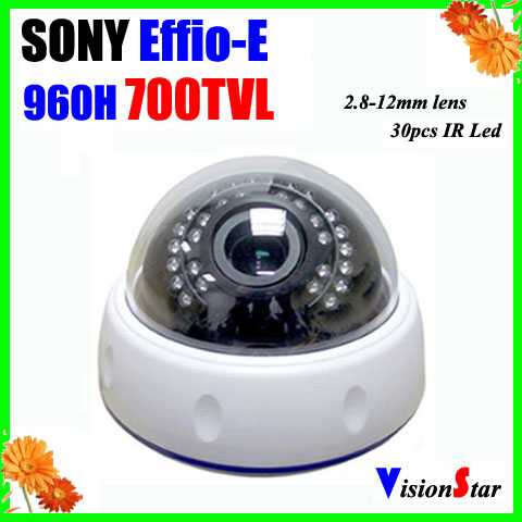 Plastic Indoor IR Dome CCTV Camera Sony Effio-E 700TVL Varifocal 2.8-12mm Lens OSD Menu Vision Star