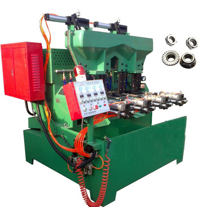 The pneumatic 4 spindle flange & hex nut tapping machine