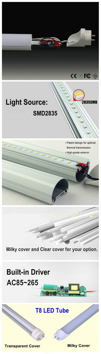 2016 Cheap 18W 4FT UL Listed T8 LED Tube Light With 5 Years Warrny
