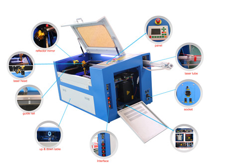 CO2 laser engraving cutting machine for wood pen acrylic paper, with rotary device