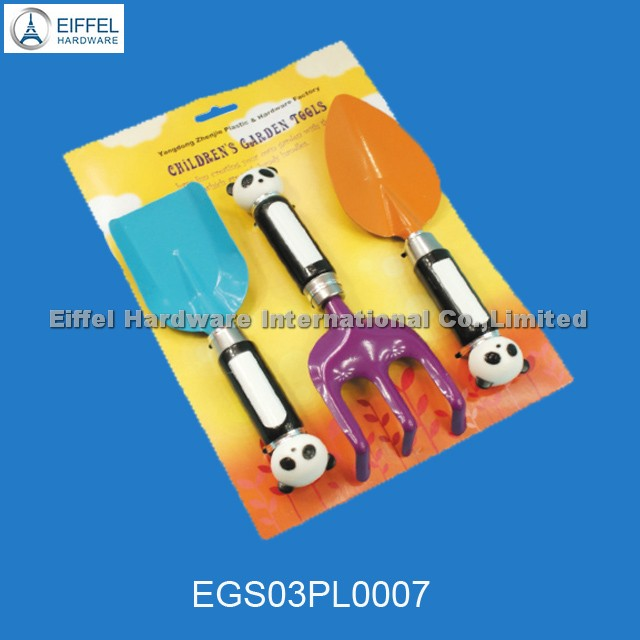 Three pcs children garden tools ((sharp shovel ,square point shovel,rake)in blister card packing